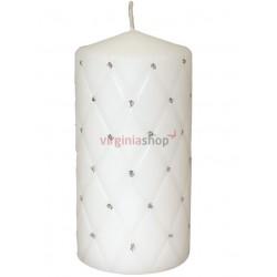 Sviečka s kamienkami biela 00057
