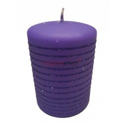 Sviečka s pásikmi fialová 00061