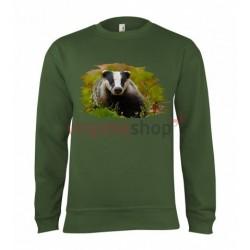 Pánska poľovnícka mikina s motívom jazvec