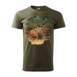 Pánske poľovnícke tričko s motívom jeleň