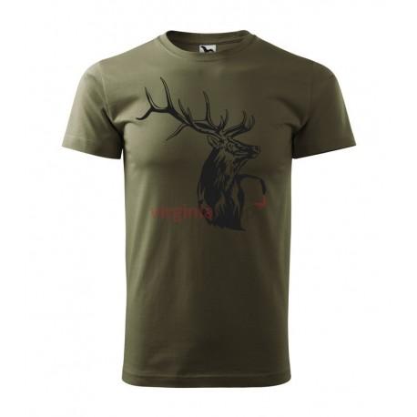 Pánske poľovnícke tričko s motívom jeleňa