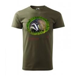 Pánske poľovnícke tričko s motívom jazvec