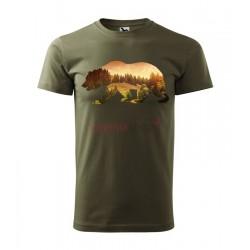Pánske poľovnícke tričko s motívom medveď