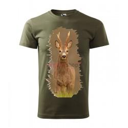 Pánske poľovnícke tričko s motívom srnec