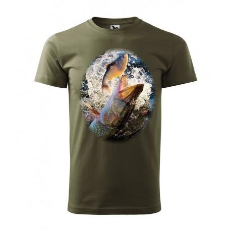 Pánske rybárske tričko s motívom šťuka
