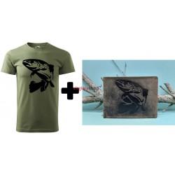 Pánske poľovnícke tričko + pánska kožená peňaženka