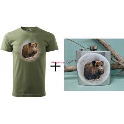 Pánsky set tričko + ploskačka diviak