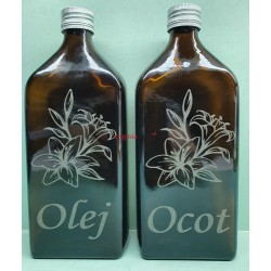 Fľaša sklená ploskačka ocot a olej 0,5L
