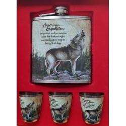 Fľaša ploskačka sada vlk